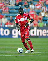 Chicago Fire defender Jalil Anibaba (6) prepares to make a pass.  The Chicago Fire defeated Toronto FC 2-0 at Toyota Park in Bridgeview, IL on August 21, 2011.