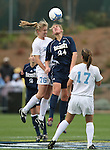 3 December 2006: North Carolina's Ali Hawkins (76) and Notre Dame's Jill Krivacek (24) challenge for a header. The University of North Carolina Tarheels defeated the University of Notre Dame Fighting Irish 2-1 at SAS Stadium in Cary, North Carolina in the NCAA Division I Women's College Cup championship game.