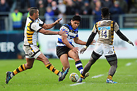 Ben Tapuai of Bath Rugby grubbers the ball. Aviva Premiership match, between Bath Rugby and Wasps on March 4, 2017 at the Recreation Ground in Bath, England. Photo by: Patrick Khachfe / Onside Images