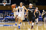 03 December 2015: Duke's Angela Salvadores (ESP) (3) and Minnesota's Mikayla Bailey (24). The Duke University Blue Devils hosted the University of Minnesota Golden Gophers at Cameron Indoor Stadium in Durham, North Carolina in a 2015-16 NCAA Division I Women's Basketball game. Duke won the game 84-64.