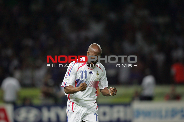 FIFA WM 2006 - Final / Finale<br /> Play #64 (09-Jul) - Italy vs France.<br /> Sylvain Wiltord from France happy after penalty kick during the match of the World Cup in Berlin.<br /> Foto &copy; nordphoto