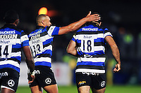 Jonathan Joseph of Bath Rugby congratulates try-scorer Kane Palma-Newport. Aviva Premiership match, between Bath Rugby and Sale Sharks on October 7, 2016 at the Recreation Ground in Bath, England. Photo by: Patrick Khachfe / Onside Images