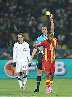 Hungarian referee Viktor Kassai finally invokes 'persistent infringment', issuing a yellow card to Ghana's Andre Ayew. Ghana defeated the U.S., 2-1, in extra time to advance to the quarterfinals, Saturday, June 26th, at the 2010 FIFA World Cup in South Africa..