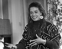 Angela Davis speaking in Berkeley, Cal. Mar 2, 1990.<br />