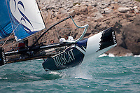 26th May  2010. Sete. France..The Wave Muscat Extreme 40 catamaran in action during the practice day..Skipper/Helm Paul Campbell-James(GBR),Mainsheet Alister Richardson(GBR),Trimmer Nick Hutton (GBR) and Bowman Khamis al Anbouri (OMA)