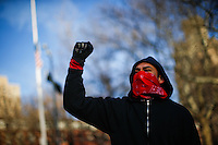 NEW YORK, NY - FEBRUARY 17: A Protestor shouts slogans against president trump as people attend a rally in solidarity with the National General Strike on February 17, 2017 in New York City. Across the country protests continue in reaction to the policies of the Trump administration. Photo by VIEWpress/Eduardo MunozAlvarez