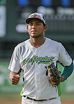 31 July 2016: Vermont Lake Monsters first baseman Miguel Mercedes trots back to the dugout during a game against the Connecticut Tigers at Centennial Field in Burlington, Vermont. The Lake Monsters edged out the Tigers 4-3 in NY Penn League action.  Mandatory Credit: Ed Wolfstein Photo *** RAW (NEF) Image File Available ***