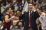27 APR 2014: Head coach Charlie Sullivan of Springfield College shouts instructions during the Division III Men's Volleyball Championship held at the Kennedy Sports Center in Huntingdon, PA. Springfield defeated Juniata 3-0 to win the national title.  Mark Selders/NCAA Photos