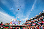 7 October 2016: A squad of four military helicopters flies over the ballpark after the playing of the National Anthem, prior to the first game of the NLDS between the Washington Nationals and the Los Angeles Dodgers at Nationals Park in Washington, DC. The Dodgers edged out the Nationals 4-3 to take the opening game of their best-of-five series. Mandatory Credit: Ed Wolfstein Photo *** RAW (NEF) Image File Available ***