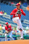 25 April 2010: Washington Nationals' pitcher Scott Olsen on the mound against the Los Angeles Dodgers at Nationals Park in Washington, DC. The Nationals shut out the Dodgers 1-0, with Olsen earning his first win of the season to take the rubber match of their 3-game series. Mandatory Credit: Ed Wolfstein Photo