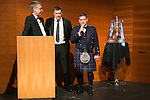 St Johnstone FC Scottish Cup Celebration Dinner at Perth Concert Hall...01.02.15<br /> Steve Brown and Tommy Wright on the stage with Gordon Bannerman<br /> Picture by Graeme Hart.<br /> Copyright Perthshire Picture Agency<br /> Tel: 01738 623350  Mobile: 07990 594431