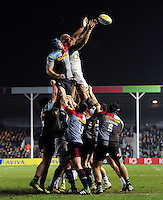 James Horwill  of Harlequins competes with Matt Garvey of Bath Rugby for the ball at a lineout. Aviva Premiership match, between Harlequins and Bath Rugby on March 11, 2016 at the Twickenham Stoop in London, England. Photo by: Patrick Khachfe / Onside Images