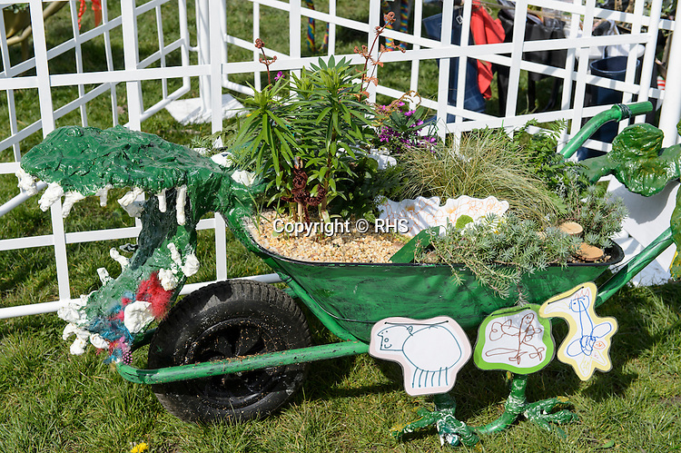 Tremorfa Nursery School in the Schools Wheelbarrow Competition at the RHS Show Cardiff 2016.