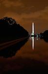 Washington Monument at Night, Lincoln Reflecting Pool, National Mall, Washington DC