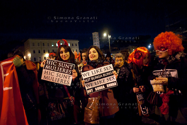 Roma 8 Marzo 2011.Corteo notturno del movimento femminista e lesbico contro la violenza maschile  e per la liberta' delle donne