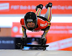14 December 2007: Marion Trott, racing for Germany, starts her second run of the FIBT World Cup Skeleton Competition at the Olympic Sports Complex on Mount Van Hoevenberg, at Lake Placid, New York, USA. ..Mandatory Photo Credit: Ed Wolfstein Photo