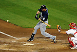 21 June 2011: Seattle Mariners first baseman Justin Smoak in action against the Washington Nationals at Nationals Park in Washington, District of Columbia. The Nationals rallied from a 5-1 deficit, scoring 5 runs in the bottom of the 9th, to defeat the Mariners 6-5 in inter-league play. Mandatory Credit: Ed Wolfstein Photo