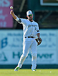 30 June 2012: Vermont Lake Monsters infielder Wilfredo Solano in action against the Lowell Spinners at Centennial Field in Burlington, Vermont. Mandatory Credit: Ed Wolfstein Photo