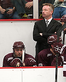 Robbie Bourdon (Colgate - 17), Don Vaughan (Colgate - Head Coach) - The Harvard University Crimson defeated the Colgate University Raiders 4-1 (EN) on Friday, February 15, 2013, at the Bright Hockey Center in Cambridge, Massachusetts.