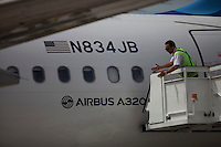 SANTA CLARA, CUBA - AUGUST 31 : Jet Blue plane first commercial flight between the US and Cuba rolls during the arrival of  inaugural flight at Abel Santamaría Airport on August 31, 2016 in Santa Clara, Cuba. Photo by VIEWpress