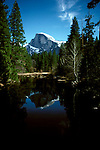 CA: Yosemite National Park, Half Dome and reflection in the Merced River          .Photo Copyright: Lee Foster, lee@fostertravel.com, www.fostertravel.com, (510) 549-2202.cayose221