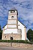 Evangelische Liebfrauenkirche Albig, romanischer Westturm, Ende des 12. Jh., spätbarocker Saalbau, bezeichnet 1781, auf romanischen Fundamenten