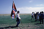 Confederate defenders walk back to Ft. Morgan after repeling attacking Union forces during the Battle of Fort Morgan, Mobile, Al in 2001.  Ft. Morgan, a critical fortification during the Civil War, was the next-to last fortress to fall as the Civil War ended. Jim Bryant Photo. @2001. All Rights Reserved.