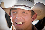 02 NOVEMBER, 2008 -- PHOENIX, AZ:  Trevor Haught talks to friends before saddle bronc riding at the Arizona High School Rodeo at the Arizona State Fair in Phoenix. Teams from across the state participate. The Arizona High School Rodeo Association sponsors a full season of high school rodeo that culminate in a championship rodeo in June.  PHOTO BY JACK KURTZ