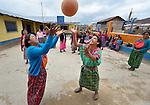 Indigenous women play basketball in Tuixcajchis, a small Mam-speaking Maya village in Comitancillo, Guatemala.