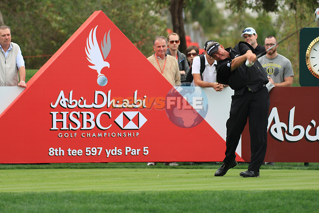 Darren Clarke tees off on the 8th on day two of the Abu Dhabi HSBC Golf Championship 2011, at the Abu Dhabi golf club, UAE. 21/1/11..Picture Fran Caffrey/www.golffile.ie.