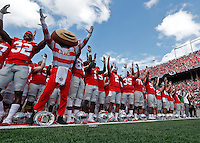 Ohio State Buckeyes celebrate the OSU win over Rutgers  at Ohio Stadium October 1, 2016.(Dispatch photo by Eric Albrecht)