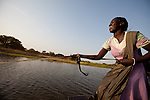 A girl crosses the Kiir river, known to the Misseryia as the Arab river.