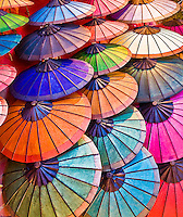 An array of colorful Asian umbrellas.<br /> (Photo by Matt Considine - Images of Asia Collection)