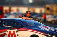 Feb 12, 2016; Pomona, CA, USA; NHRA pro stock driver Allen Johnson during qualifying for the Winternationals at Auto Club Raceway at Pomona. Mandatory Credit: Mark J. Rebilas-USA TODAY Sports