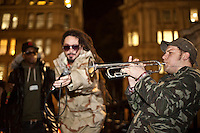Onlyjoe, music band - 2011<br /> <br /> London, 23/11/2011. The 18th of November 2011 the Occupy London movement made its third occupation. A disused UBS office building, near Finsbury Square (the second camp), became the &quot;Bank Of Ideas&quot;. Today the new occupied space hosted an anti-war art exhibition and a political song writing workshop led by the musician and activist Billy Bragg. At around 19:00, at the St Paul's camp, the Onlyjoe (music band) performed outside the Cathedral.