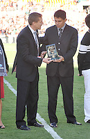 Former D.C. United Player Jaime Moreno receives from the Chief Marketing Officer Doug Hicks a plaque during the induction into the D.C. United Wall of Fame.  D.C. United tied the Los Angeles Galaxy 2-2, at RFK Stadium, Saturday September 14 , 2013.