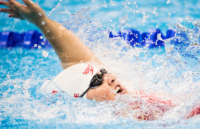 Tess Routliffe, of Caledon, ON, competes in the women's 100m backstroke S5 classification heats at the Olympic Aquatics Stadium during the Paralympic Games in Rio de Janeiro, Brazil, on September 8, 2016.