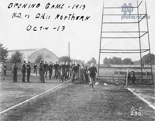 From the 1910s:  Football Game Scene - ND vs. Ohio Northern, October 4, 1913.  Captain Knute Rockne and other players running onto Cartier Field..Image from the University of Notre Dame Archives.