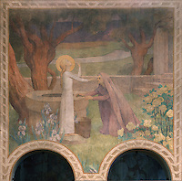 Sainte Genevieve curing her mother Geronce from blindness, fresco in the Northern transept, 1926 - 1927, directed by Maitre Paul Baudoin, Nanterre Cathedral (Cathédrale Sainte-Geneviève-et-Saint-Maurice de Nanterre), 1924 - 1937, by architects Georges Pradelle and Yves-Marie Froidevaux, Nanterre, Hauts-de-Seine, France. Picture by Manuel Cohen