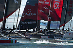 Emirates Team New Zealand compete in the official practice for the San Francisco America's Cup World Series regatta. 2/10/2012