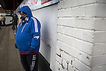 Chorley 2 Altrincham 0, 21/01/2017. Victory Park, National League North. A home supporter watching the players warming up on the pitch at Victory Park, before Chorley played Altrincham in a Vanarama National League North fixture. Chorley were founded in 1883 and moved into their present ground in 1920. The match was won by the home team by 2-0, watched by an above-average attendance of 1127. Photo by Colin McPherson.