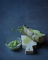 Gastronomie: Wasabi (Japon) racines et pâte avec rape a wasabi en galucha