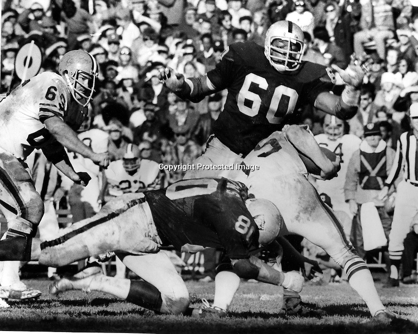 Oakland Raiders Otis Sistrunk and Art Thoms get after the QB..<br />