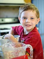 4 Year old boy baking