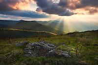"""APPALACHIAN LIGHT"" -- Crepuscular rays break through storm clouds near Black Balsam Knob along the Blue Ridge Parkway."