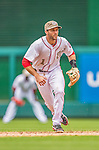 27 May 2013: Washington Nationals infielder Stephen Lombardozzi in action against the Baltimore Orioles at Nationals Park in Washington, DC. The Orioles defeated the Nationals 6-2, taking the Memorial Day, first game of their interleague series. Mandatory Credit: Ed Wolfstein Photo *** RAW (NEF) Image File Available ***