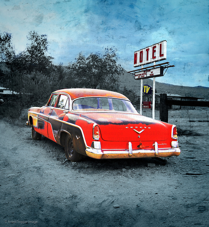 Edited vintage scene in USA with classic car beside motel sign