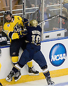 Adam Ross (Merrimack - 26), David Gerths (Notre Dame - 10) - The University of Notre Dame Fighting Irish defeated the Merrimack College Warriors 4-3 in overtime in their NCAA Northeast Regional Semi-Final on Saturday, March 26, 2011, at Verizon Wireless Arena in Manchester, New Hampshire.