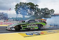 Jun. 1, 2012; Englishtown, NJ, USA: NHRA funny car driver Alexis DeJoria during qualifying for the Supernationals at Raceway Park. Mandatory Credit: Mark J. Rebilas-