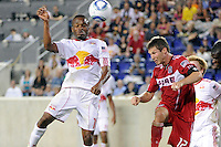 Dane Richards (19) of the New York Red Bulls heads the ball. The New York Red Bulls and the Chicago Fire played to a 2-2 tie during a Major League Soccer (MLS) match at Red Bull Arena in Harrison, NJ, on August 13, 2011.
